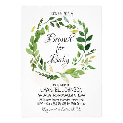 Watercolor Foliage Wreath Baby Shower Invitation