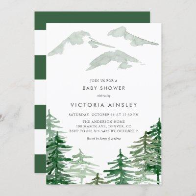 Watercolor Forest Winter Woodland Baby Shower Invitation