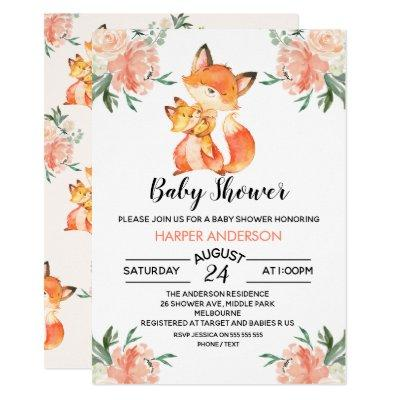 Watercolor Fox Baby Shower Invitation