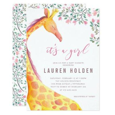 Watercolor Giraffe Baby Shower Invitations