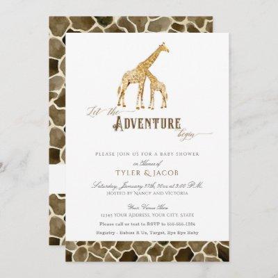 Watercolor Giraffes Safari Adventure Baby Shower Invitation