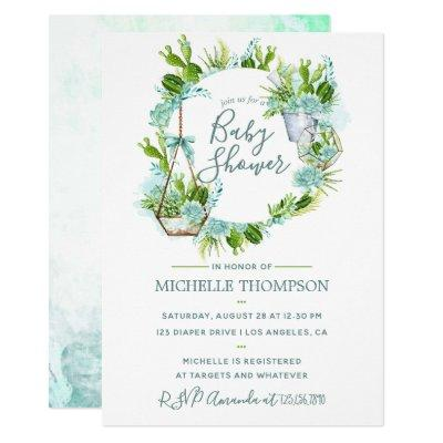 Watercolor Glass Terrarium Succulents Baby Shower Invitations