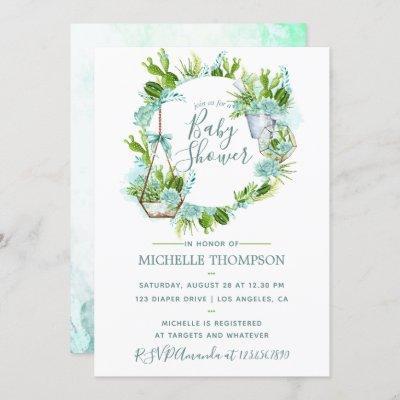 Watercolor Glass Terrarium Succulents Baby Shower Invitation