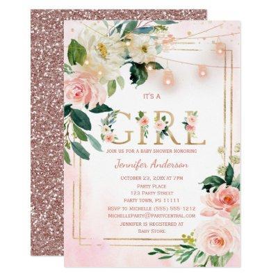 Watercolor Glitter Baby Girl Shower Invitation
