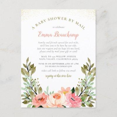 Watercolor Greenery Shower By Mail Baby Shower Invitation Postcard