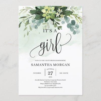 Watercolor greenery succulent floral it's a girl invitation