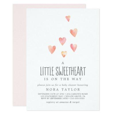 Watercolor Hearts Little Sweetheart Baby Shower Invitation