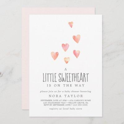 Watercolor Hearts Little Sweetheart Baby Shower Invitation