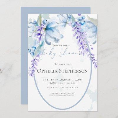 Watercolor Lavender -Dusty Blue Floral Baby Shower Invitation
