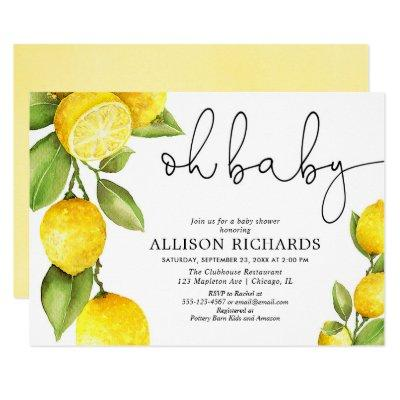 Watercolor lemon gender neutral yellow baby shower invitation