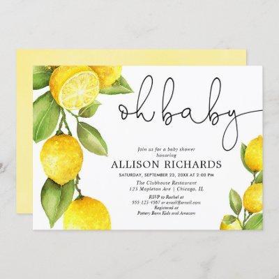 Watercolor lemon gender neutral yellow baby shower invitation