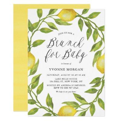 Watercolor Lemon Greenery Wreath Brunch for Baby Invitation