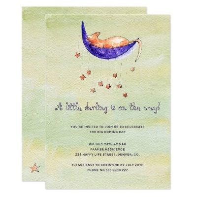Watercolor little baby on the way baby shower invitation