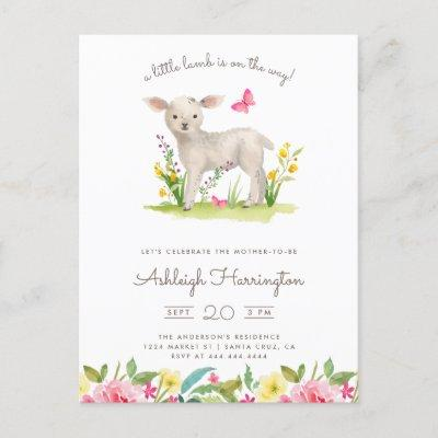 Watercolor Little Lamb Spring Meadow Baby Shower Invitation Postcard