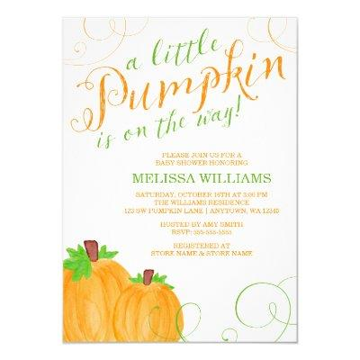 Watercolor Little Pumpkin Fall Invitations