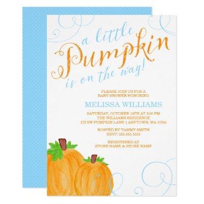 Watercolor Little Pumpkin Fall Boy
