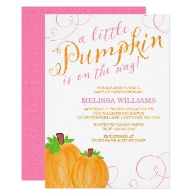 Watercolor Little Pumpkin Fall Girl Invitations
