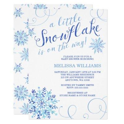 Watercolor Little Snowflake Boy Winter Baby Shower Invitation