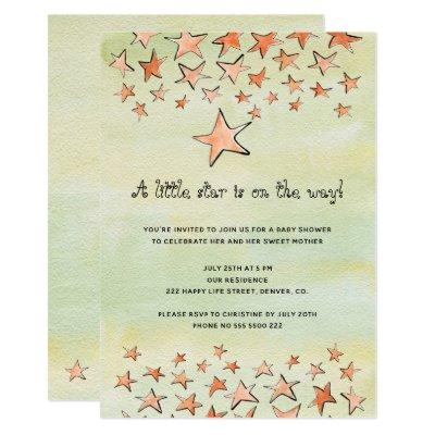 Watercolor little star on the way baby shower invitation