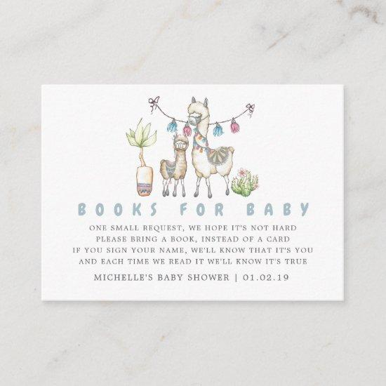 Watercolor Llama Themed Baby Shower Book Request Enclosure Card