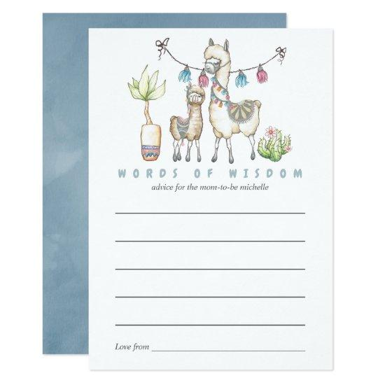 Watercolor Llama Themed Baby Shower Mom Advice Card Baby Shower