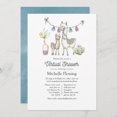 Watercolor Llama themed Virtual Baby Shower Invitation