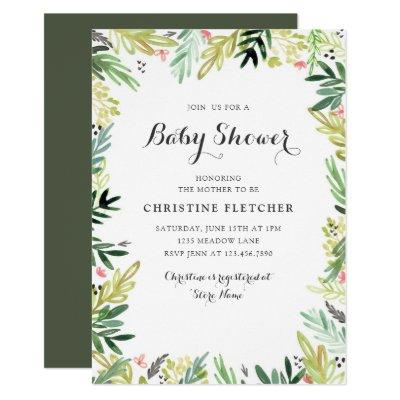 Watercolor Meadow Baby Shower Invitations