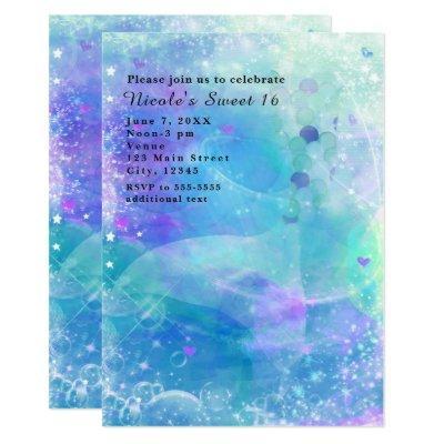 Watercolor Mermaid Tail Birthday Party Invitations