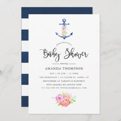Watercolor Nautical Themed Floral Baby Shower Invitation