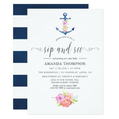 Watercolor Nautical Themed Floral Sip and See Invitation