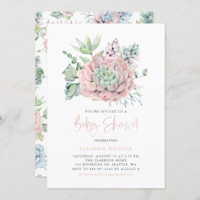Watercolor Pastel Succulents Baby Shower Invitation