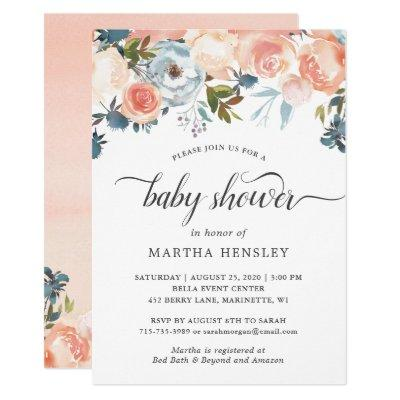 Watercolor Peach Floral Swirl Script Baby Shower Invitation