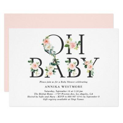 Watercolor Peach Flowers Oh Baby! Baby Shower Invitation
