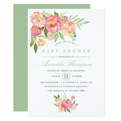 Watercolor Peony flowers Baby Shower invitation