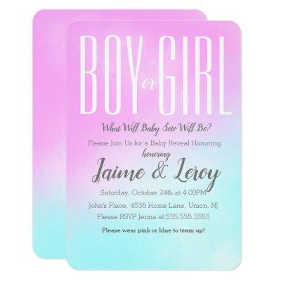Watercolor Pink Blue Gender Reveal He or She Invitations