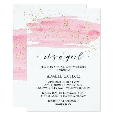 Watercolor Pink & Gold It's A Girl Baby Shower Invitations