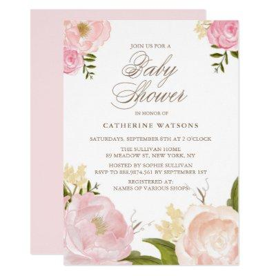 Watercolor Pink Peonies Baby Shower Invitations