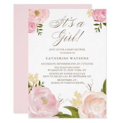 Watercolor Pink Peonies It's a Girl Baby Shower Invitations