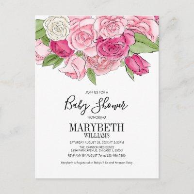 Watercolor Pink Roses Baby Shower Invitatiion Invitations Postcard