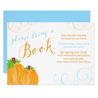 Watercolor Pumpkin Boy Baby Shower Bring a Book Invitations