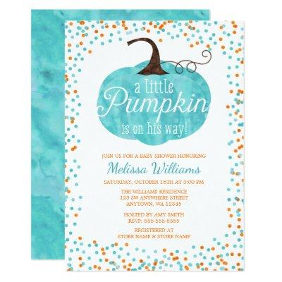 Watercolor Pumpkin Confetti Fall Boy Baby Shower Invitations