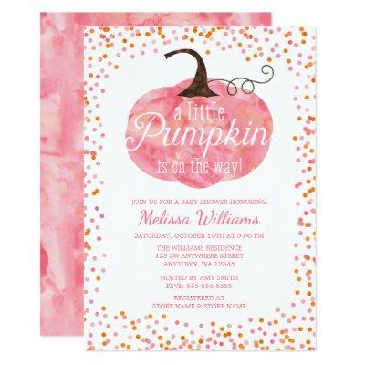 Watercolor Pumpkin Confetti Fall Girl Baby Shower Invitations