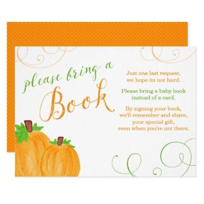 Watercolor Pumpkin Fall Baby Shower Bring a Book Invitations
