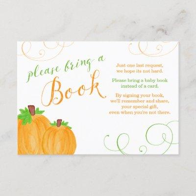 Watercolor Pumpkin Fall Baby Shower Bring a Book Enclosure Card