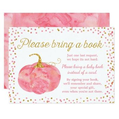 Watercolor Pumpkin Girl Baby Shower Bring a Book Invitations