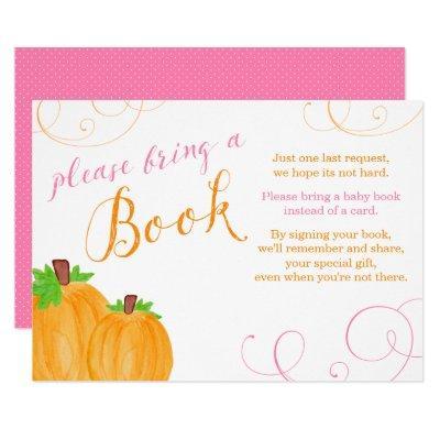 Watercolor Pumpkin Girl Bring a Book Invitations