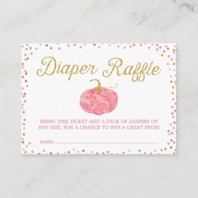 Watercolor Pumpkin Glitter Diaper Raffle Ticket Enclosure Invitations