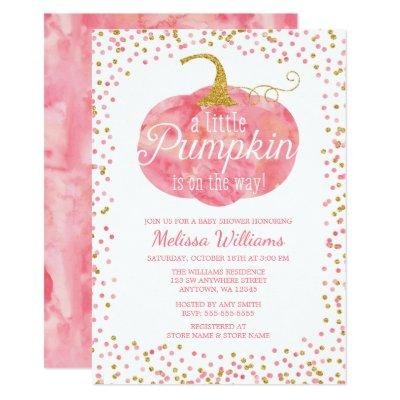 Watercolor Pumpkin Glitter Fall Girl Baby Shower Invitations