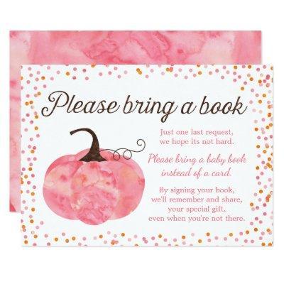 Watercolor Pumpkin Pink Baby Shower Bring a Book Invitation