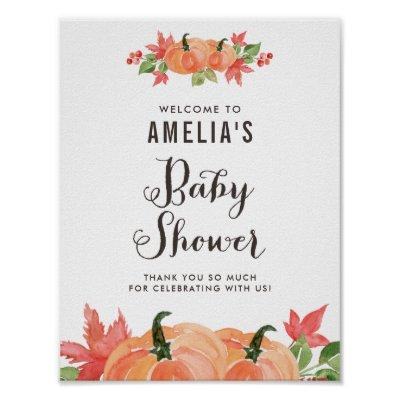 Watercolor Pumpkins Autumn Baby Shower Welcome Poster
